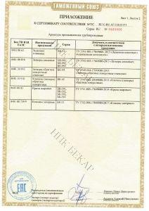 Приложение №1 к сертификату соответствия промышленной трубопроводной арматуры ТР ТС 010/2011 «О безопасности машин и оборудования»