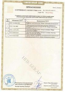 Приложение №2 к сертификату соответствия промышленной трубопроводной арматуры ТР ТС 010/2011 «О безопасности машин и оборудования»